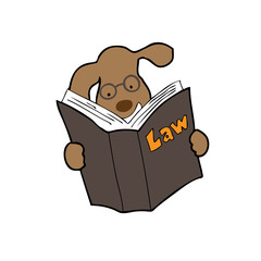 Dog reads law book