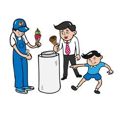 Ice cream man and customers
