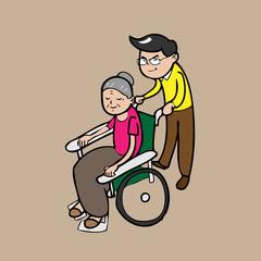 Man pushing wheel chair for mom