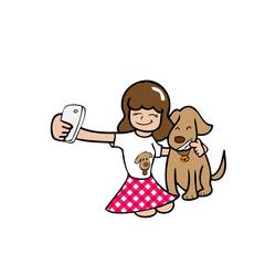 Selfie girl and dog
