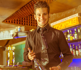 happy barman at work