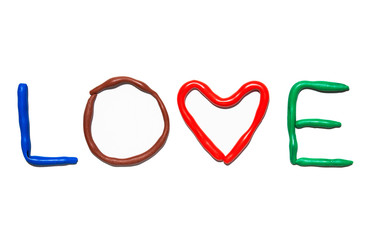 Text LOVE from plasticine