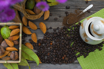 Almonds, nuts and coffee