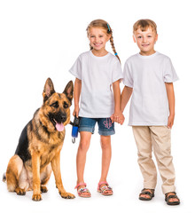 children with a shepherd dog