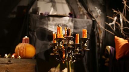Halloween Candlestick. Candles Fade