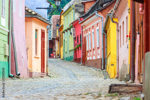 Medieval street view in Sighisoara founded by saxon colonists in - 70990144