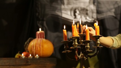 Halloween Candlestick. Set Afire