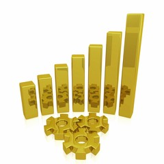 Golden Business Growth Bars and Gears