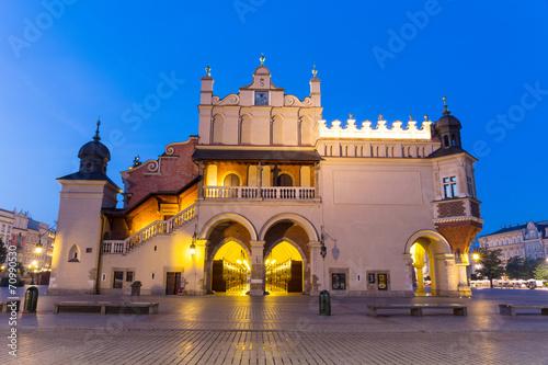 Market Square at night, Poland, Krakow.