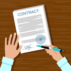 Signing a contract. Business meeting. Vector illustration