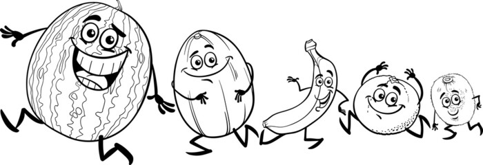 running fruits cartoon coloring book