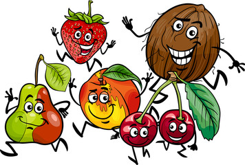 running fruits group cartoon illustration