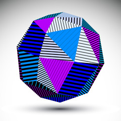 Symmetric spherical 3D vector technology illustration, saturated