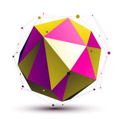 Colorful abstract 3D structure, gold and purple orbed vector net