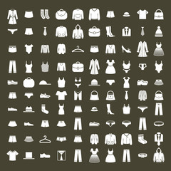 Clothes icon vector set, vector collection of fashion signs and
