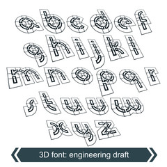 Rotated constructor dimensional script, vector geometric letters