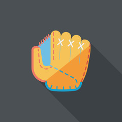 baseball glove flat icon with long shadow,eps10