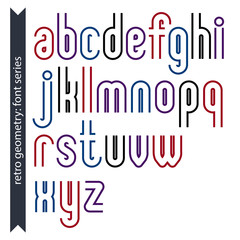 Stylish lowercase letters set with straight parallel lines. Vect