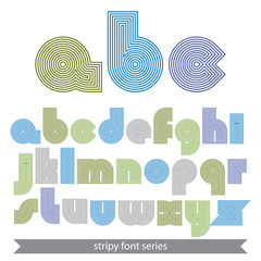 Extraordinary round striped font. Vector light lowercase letters