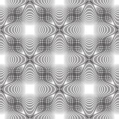 Seamless vintage floral background, geometric lined monochrome s