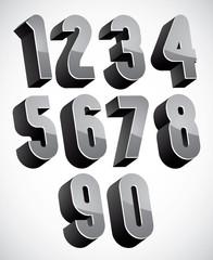 3d numbers set.