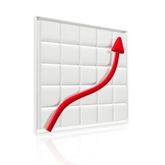 Business Growth Arrow on Grid Chart 3D