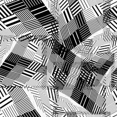 Black and white geometric stripy seamless pattern, tattered endl