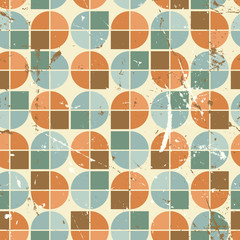 Vintage bright rounded geometric seamless pattern, vector segmen