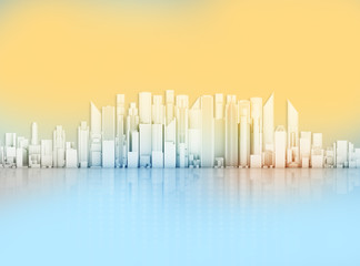 Office skyscrapers on an abstract background.