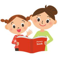 絵本を読む母と子供