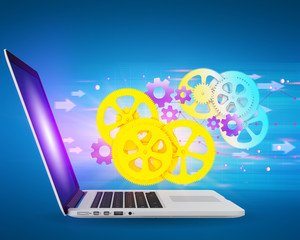 illustration with gears flying out of laptop screen.