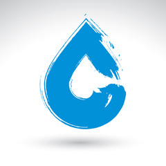 Hand painted blue water drop icon isolated on white background,