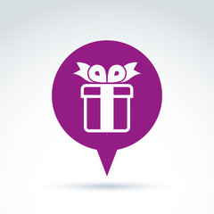 Speech bubble with a purple gift box sign. Vector present icon.