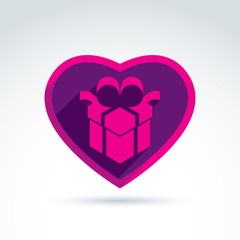Vector illustration of a purple gift box sign placed in a heart