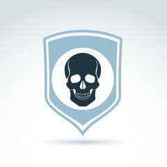 Vector illustration of a human skull on a shield. Dead head abst