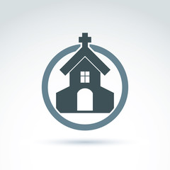 Christian church with a cross. Vector illustration of a temple p