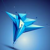 Blue contemporary technological asymmetric construction, colorfu - 70994144