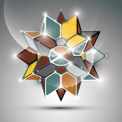 3D metal glossy kaleidoscope complicated object. Vector festive