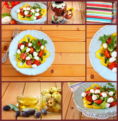 Images with a variety of salad with mozzarella and fresh vegetab