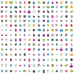 240  shopping icons vector set, includes money icons, clothes ic