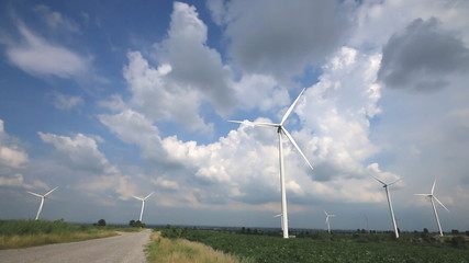 Wind turbines,clouds background.