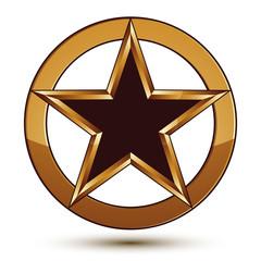 Refined vector black star emblem with golden outline, 3d pentago