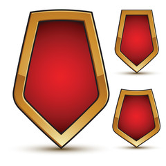 Refined vector three red shield shape emblems with golden border