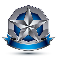 Sophisticated vector emblem with silver glossy star and blue wav