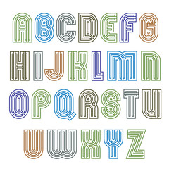 Stripy light contemporary poster uppercase letters, lined extrao