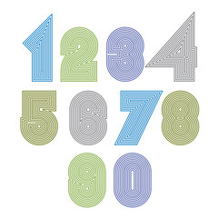 Extraordinary round striped numbers. Vector creative light digit