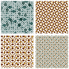 Four dotted seamless patterns with rings, set of brown polka dot