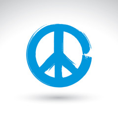 Hand drawn simple vector peace icon, brush drawing blue realisti