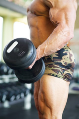 Hand of middleaged bodybuilder in shorts raising dumbbell in gym