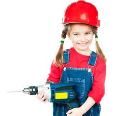 Little girl in red helmet